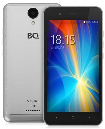Смартфон BQ-5044 Strike LTE (Silver) MediaTek MT6737 (1.3)/1GB/8GB/5.0 1280х720 IPS/4G LTE/2Sim/13Mp, 8Mp Cam/Android 7.0 lenovo vibe c2 k10a40 dual sim 8gb lte black