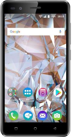 Смартфон BQ-5054 Crystal (Black) MediaTek MT6580 (1.3)/1GB/8GB/5.0 1280х720 IPS 2.5D/2Sim/8Mp, 5Mp Cam/Android 7.0 планшет prestigio multipad grace 3118 pmt31183gccis black mediatek mt8321 1 2 ghz 1024mb 8gb wi fi bluetooth cam 8 0 1280x800 android