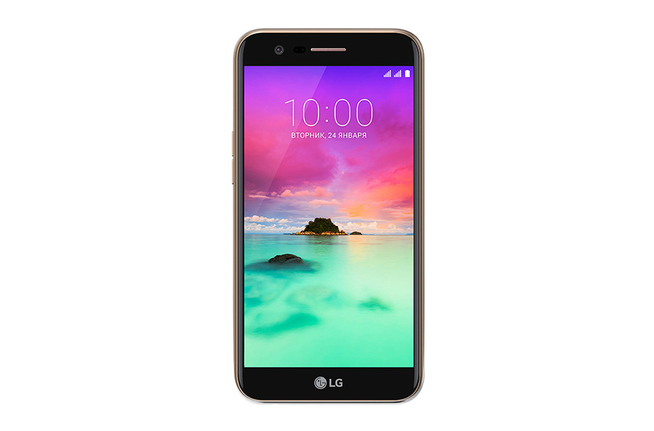Смартфон LG K10 (2017) Gold MediaTek MT6750/2Gb/16Gb/5.3 (1280x720)/3G/4G/13Mp+5Mp/Android 7.0