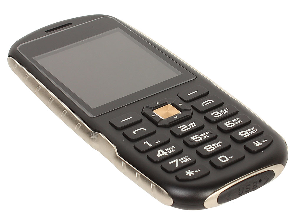 Защищенный телефон Ginzzu R1D Black 2.4 (320x400)/microSD/BT/IP56/1.3Mpix мобильный телефон ginzzu r1d шампань
