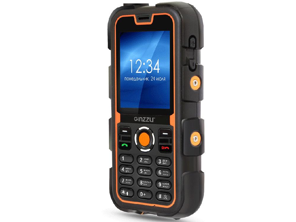 Защищенный Телефон GINZZU R62D черный/оранжевый 2SIM/1.3Mp/2.2