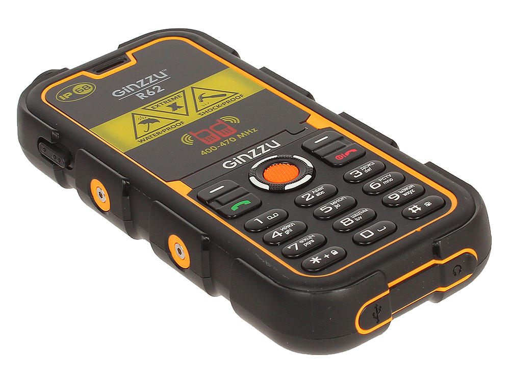 Защищенный Телефон GINZZU R62D черный/оранжевый 2SIM/1.3Mp/2.2/FM/MicroSD Up 16Gb/1700мАч/IP68/Рация рация gxt 500