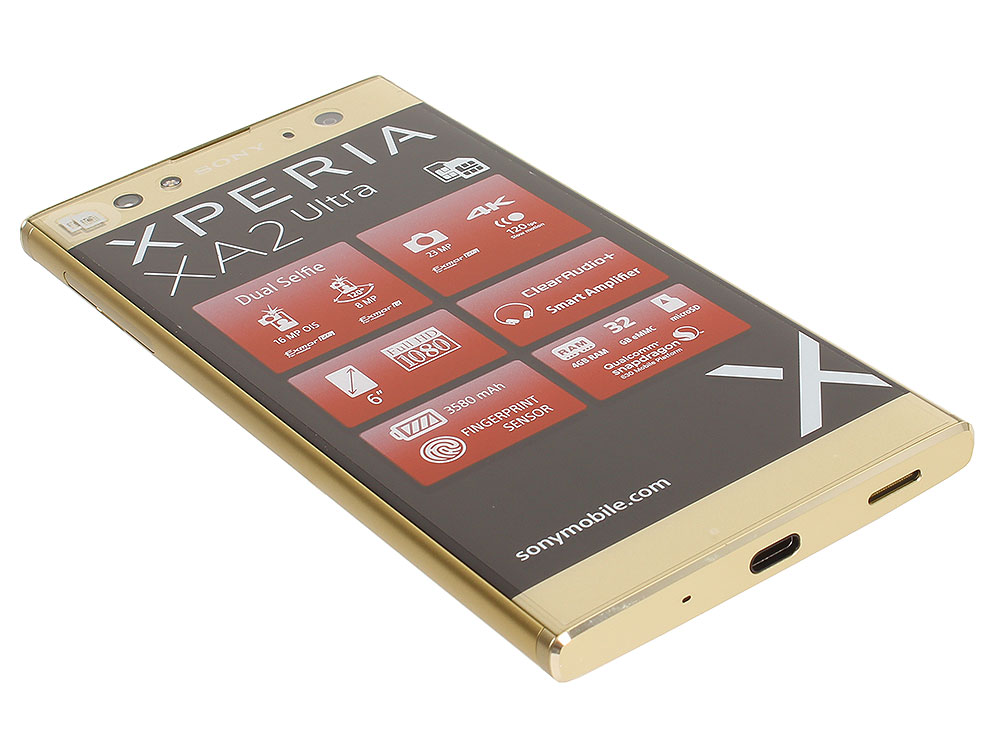 смартфон sony xperia 10 plus ds i4213 black sd636 4гб 64 гб 6 5 fhd 21 9 3g 4g bt android 9 0 Смартфон Sony Xperia XA2 Ultra Dual (H4213) Gold Snapdragon 630 (2.2)/4GB/32GB/6 (1920x1080)/3G/4G LTE/23Mp,16Mp+8Mp Cam/BT/Android 8.0 (1312-7474)