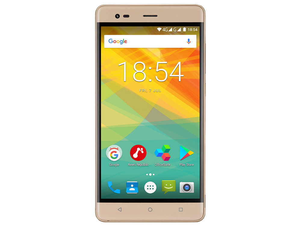 Смартфон Prestigio Grace R5 LTE  (PSP5552DUOGOLD) Quad-Core (1.25)/1GB/16GB/5.5 720x1280 IPS/4G LTE/Dual SIM/13MP, 2MP/Android 7.0 (Gold) prestigio multipad wize 3508 4g black 8 0 800x1280 ips 1 3ghz quad core 1gb 16gb 2 0mp 5 0mp 4200mah android 5 1 [pmt3508 4g d bk cis]