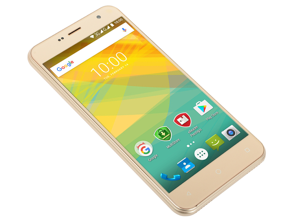 Смартфон Prestigio Muze B7 (PSP7511DUOGOLD) Quad-Core (1.3)/2GB/16GB/5.0 720x1280 IPS/3G/Dual SIM/13MP, 2MP/Android 6.0 (Gold) zidoo h6 pro android 7 0 4k tv box bluetooth 4 1 in set top box quad core ddr4 4k 60fps 10bit 2bg 16gb emmc 1000m lan dual wifi
