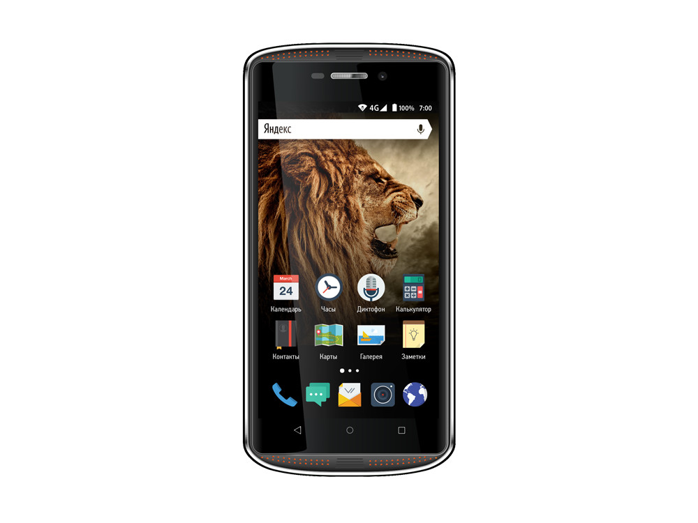 Смартфон Vertex Impress Tor (TOR-BLOR) Snapdragon 210 (1.1) / 1GB / 8GB / 5 1280x720 IPS / 2Sim / 4G LTE / IP68 / Android 7.1 (Black/Orange)