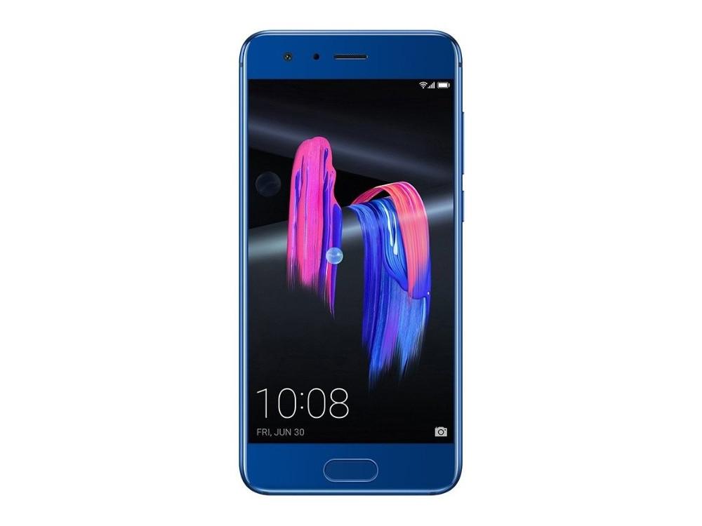Смартфон HONOR 9 (51091VBS) HiSilicon Kirin 960 (2.4) / 6GB / 128GB / 5.15'' 1920x1080 IPS / 2Sim / LTE / 20Mp+12Mp, 8Mp / Android 7.0 (Blue) смартфон huawei honor 9 premium 128gb grey stf l09