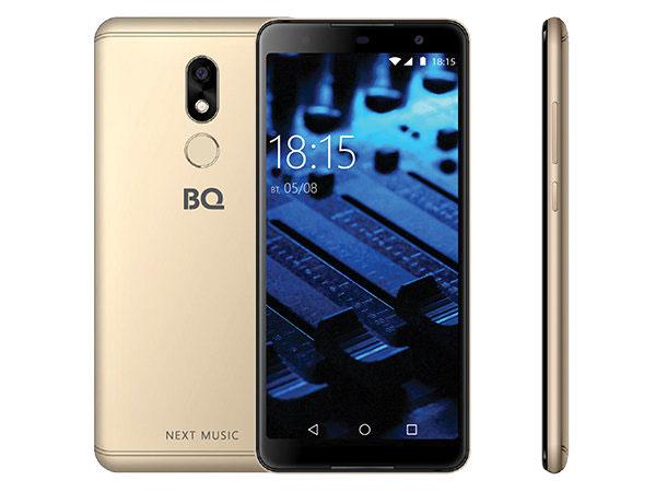 Смартфон BQ-5707G Next Music Gold MediaTek MT6580(1.3GHz)/2GB/16GB/5.7 1440x720/2 Sim/3G/13Mp/BT/Wi-Fi/GPS/Glonas/Android 8.1 bluboo edge 2gb 16gb smartphone gold