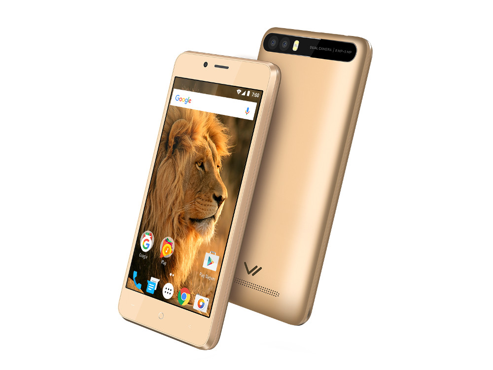 Смартфон Impress Lion dual cam 3G (Gold) MediaTek MT6580 (1.3) / 1GB / 8GB / 5 1280x720 IPS / 2 Sim / 3G / GPS / 8Mp+5Mp, 5Mp / Android 7.0 (VLN3GDC-GLD) 5 0 дюймовый 3g смартфон android 5 1 1 quad core dual sim