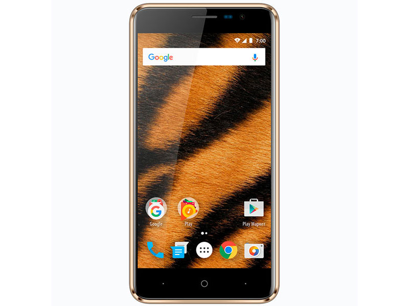 Смартфон Vertex Impress Tiger 4G Gold MediaTek MT6737/1GB/8GB/5 1280x720/8Mpix+5Mpix/2 Sim/3G/LTE/BT/Wi-Fi/GPS/Android 7.0 jiake v6 mtk6582 quad core android 4 2 2 wcdma bar phone w 5 5 qhd 8gb rom wi fi gps black