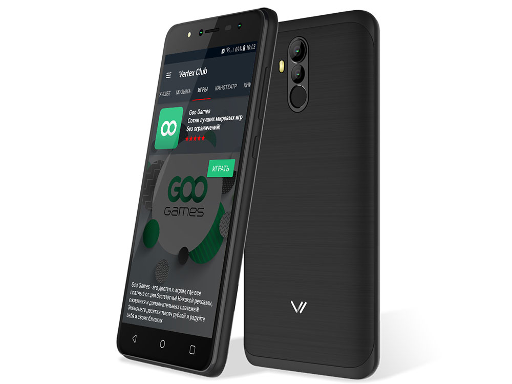 Смартфон Vertex Impress New (4G) Black MediaTek MT6737 (1.3) / 1GB / 16GB / 5.5 1920x1080 IPS / 2Sim / 4G LTE / BT / 13+0.3Mp, 5+0.3Mp / Android 7.0 смартфон bq 5510 strike power max 4g mint gray mediatek mt6737 1 3 1gb 8gb 5 5 1280х720 ips 4g lte 2sim 13mp 8 mp cam android 7 0