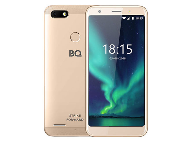 Смартфон BQ-5512L Strike Forward Gold MediaTek MT6739 (1.3)/16 Gb/2 Gb/5.45 (1440x720)/DualSim/3G/4G/BT/Android 8.1 смартфон bq 5058 strike power easy black mediatek mt6580m 1 3 8 gb 1 gb 5 854x480 dualsim 3g bt android 6 0