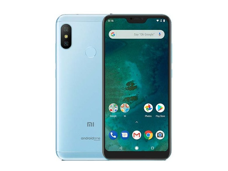 Смартфон Xiaomi Mi A2 Lite Blue 8 Core(2.0GHz)/3GB/32GB/5.84 2280x1080/2 Sim/12MP+5MP/5MP/3G/LTE/IRDA/BT/Wi-Fi/GPS/Android 8.1 smartch h1 smart watch android 5 1 os smartwatch 512mb 4gb rom gps sim 3g heart rate monitor camera waterproof sports wristwatch