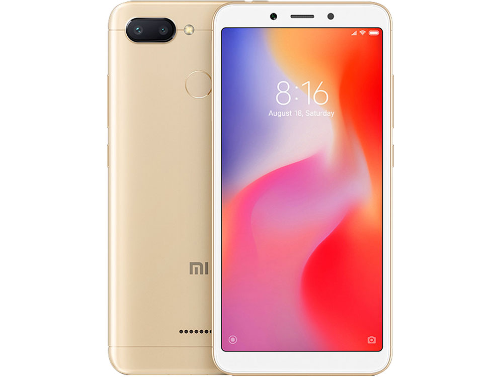 Смартфон Xiaomi Redmi 6 Gold 8 core (2.0 Ghz)/3GB/32GB/5.45'/1440x720/2 Sim/3G/LTE/BT/12Mp+5Mp/5Mp/Wi-Fi/GPS/Glonas/Android 8.1 huawei mediapad t1 lte 8 16gb [t1 821l ] 8 silver white 8 1280x800 16 гб wi fi bluetooth 3g 4g lte gps глонасс android 4 3