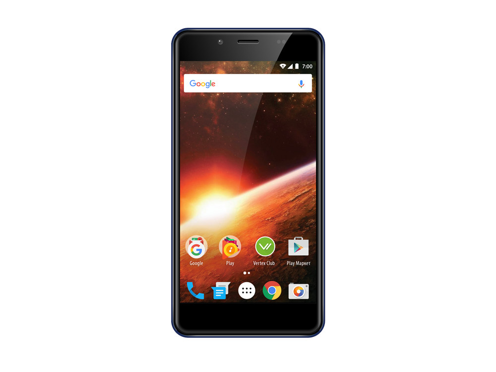 Смартфон Vertex Impress Eclipse 4G (VCLPS-BL) MediaTek MT6739 (1.5) / 1GB / 8GB / 5.2 1280x720 IPS / 2Sim / 3G / 4G LTE / 13Mp+0.3Mp, 5Mp / Android 7.0 (Blue) смартфон impress lion dual cam 3g gold mediatek mt6580 1 3 1gb 8gb 5 1280x720 ips 2 sim 3g gps 8mp 5mp 5mp android 7 0 vln3gdc gld