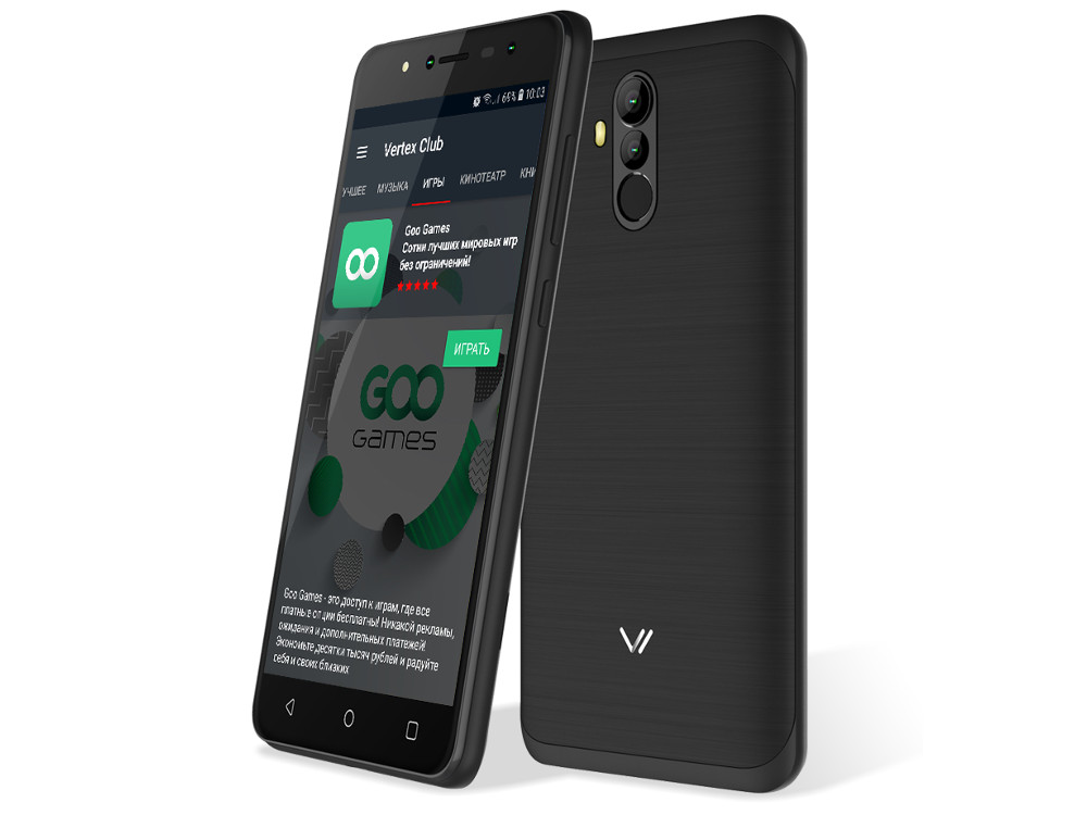 Смартфон Vertex Impress New 4G (VNW-GRT) MediaTek MT6737 (1.3) / 1GB / 16GB / 5.5 1920x1080 / 2Sim / 3G / 4G LTE / 13Mp+0.3Mp, 5Mp+0.3Mp / Android 7.0 (Graphite) смартфон bq 5510 strike power max 4g mint gray mediatek mt6737 1 3 1gb 8gb 5 5 1280х720 ips 4g lte 2sim 13mp 8 mp cam android 7 0