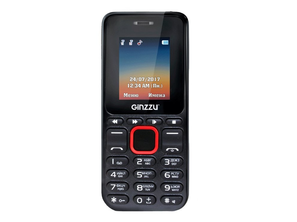 Телефон GINZZU M102D mini (Black/Red) 1.8 / 2SIM / GPRS / 0.3 Mp / Flash / MP3 / FM