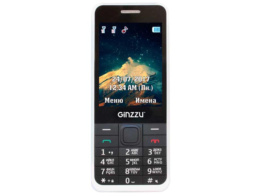 Телефон GINZZU M108D (White) 2.8 / 2SIM / GPRS / 0.3 Mp / Flash / MP3 / FM / BT ginzzu gt x770 v2 lte 8gb white