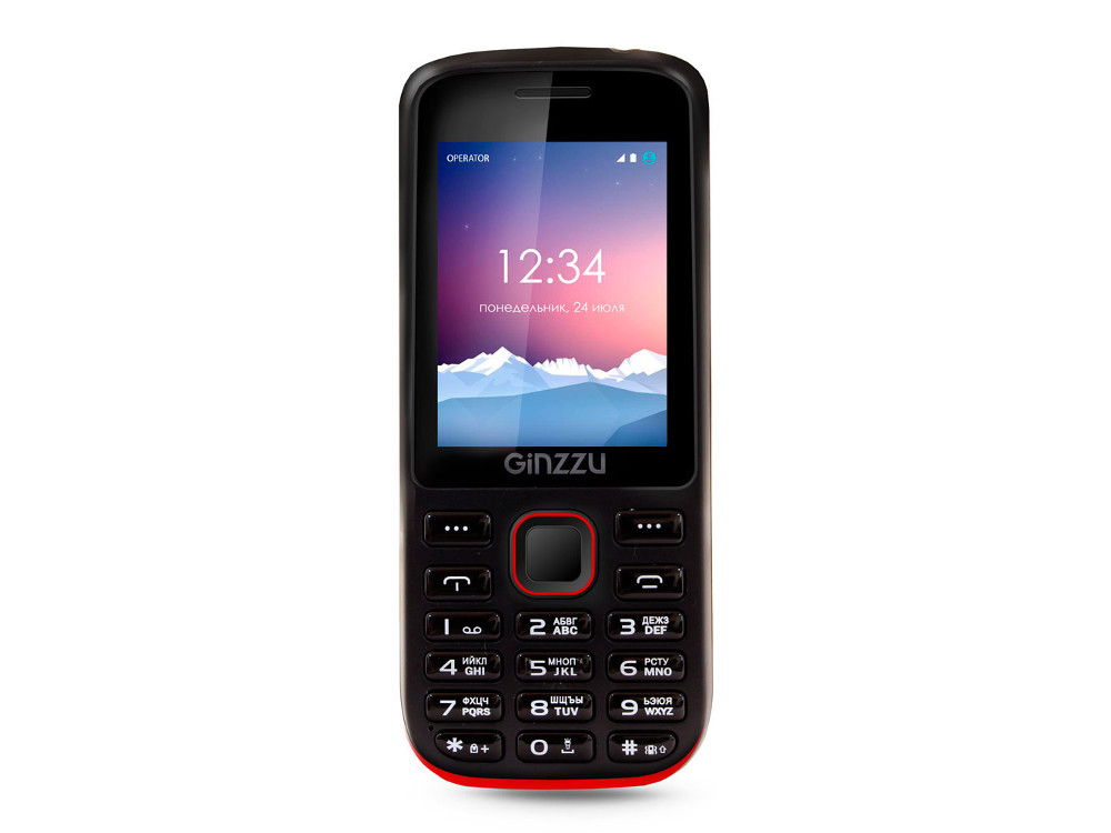 Телефон GINZZU M201 (Black/Red) 2.4 240x320 / 2SIM / GPRS / 1.3 Mp / Flash / MP3 / FM / BT