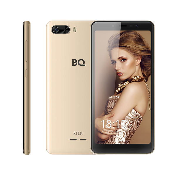Смартфон BQ-5520L Silk Золотой MediaTek MT6739 (1.5)/8 Gb/1 Gb/5.45 (1440x720)/DualSim/3G/4G/BT/Android 8.1 смартфон prestigio grace p7 psp7570duoblue blue mediatek mt6737 1 3 2 gb 16 mb 5 7 1440x720 dualsim 3g 4g bt android 7 0