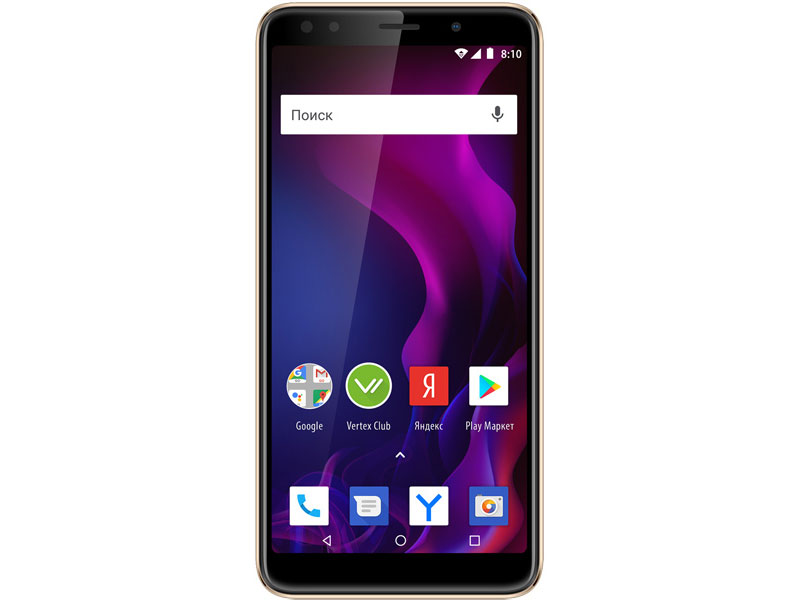 Смартфон Vertex Impress Zeon (3G), золотой смартфон vertex impress city lte black