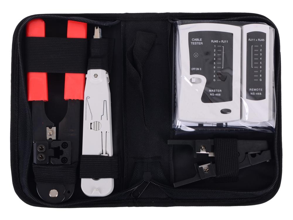 Набор инструментов Cablexpert TK-NCT-01 для работы с локальной сетью  набор инструментов gembird cablexpert tk home 01 24 предмета