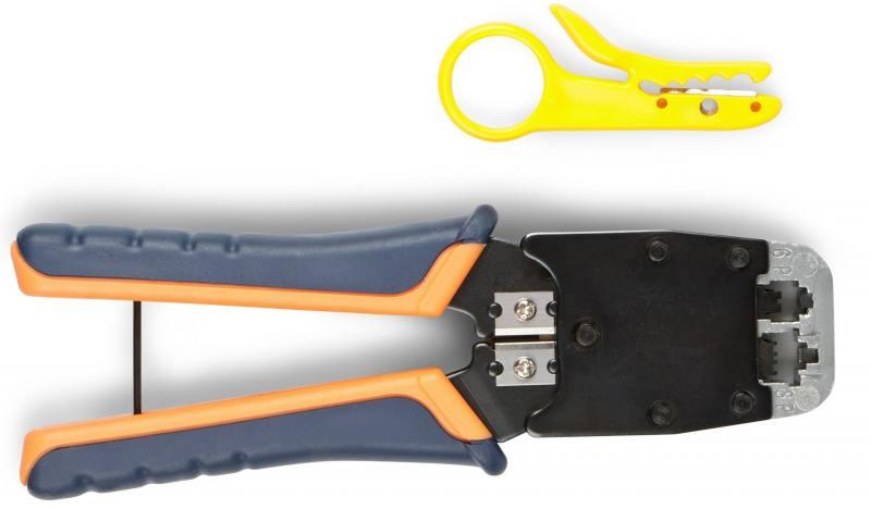 Инструмент обжимной ITK TM1-B11V для RJ45 RJ12 RJ11 сине-оранжевый