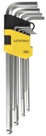 Набор ключей Stayer MASTER имбусовые 9шт 2741-H9-2 набор г образных ключей торкс t10 t50 9шт jtc 5354