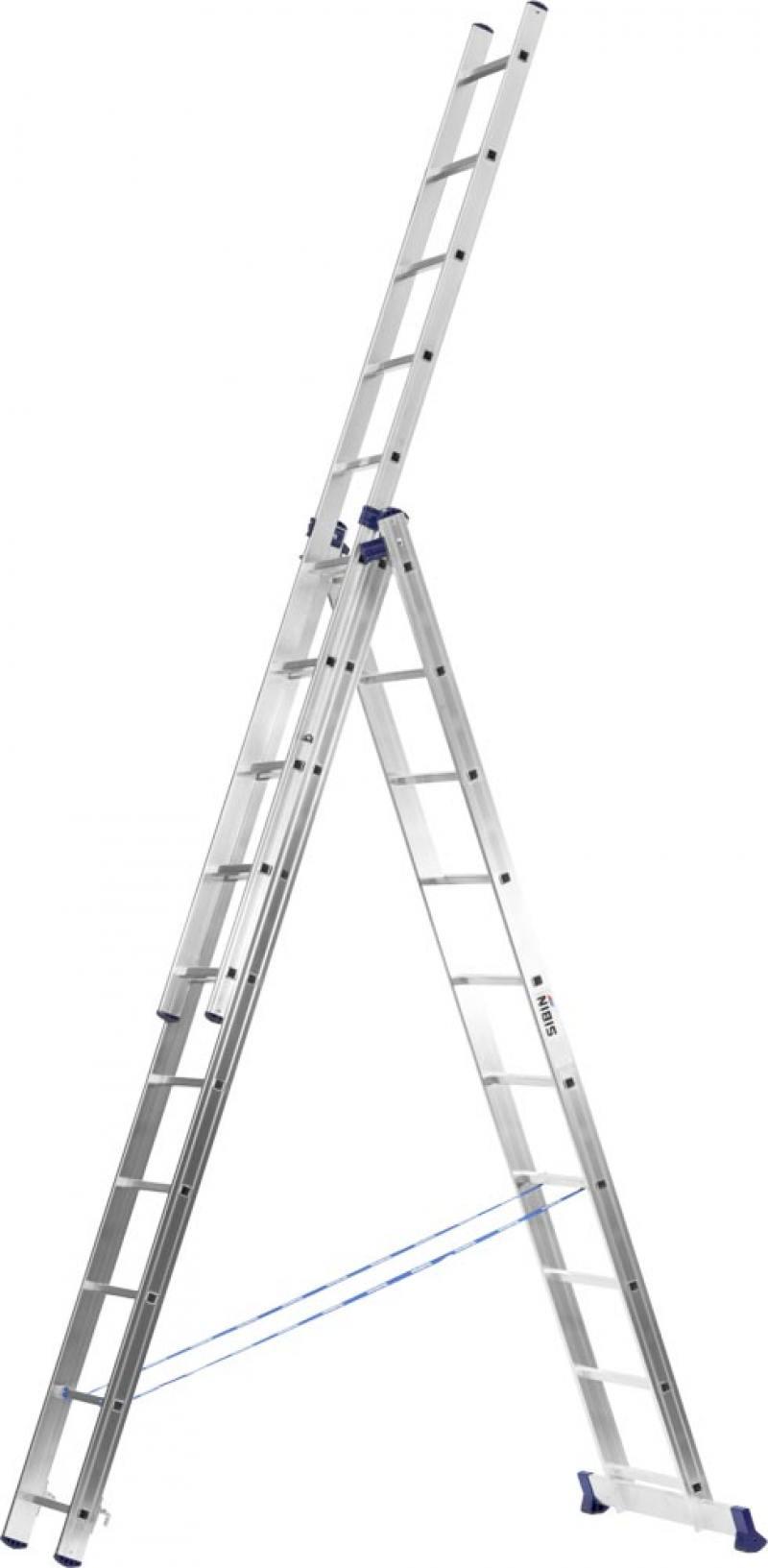 Лестница Сибин универсальнаятрехсекционная со стабилизатором 12 ступеней 38833-12 лестница трехсекционная сибин 3х9 ступеней 38833 09