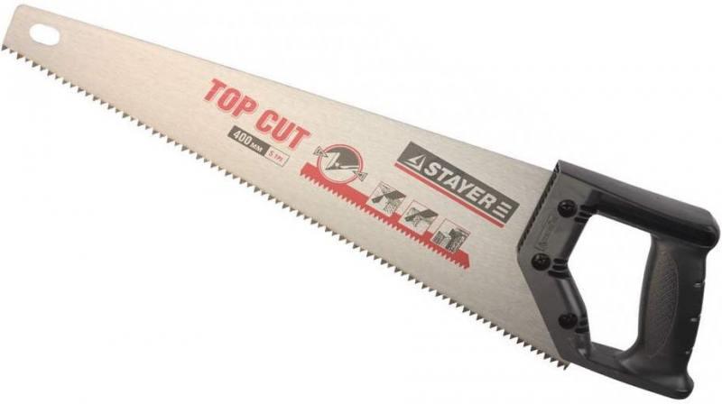 Ножовка Stayer Top Cut по дереву закаленный зуб пластиковая ручка 1510-50