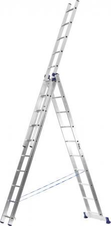 Лестница Сибин универсальная трехсекционная со стабилизатором 8 ступеней 38833-08 лестница трехсекционная сибин 3х9 ступеней 38833 09