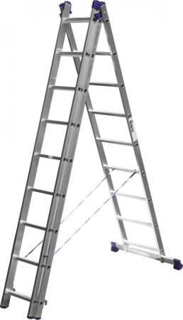 Лестница Сибин универсальная трехсекционная со стабилизатором 9 ступеней 38833-09 лестница трехсекционная сибин 3х9 ступеней 38833 09