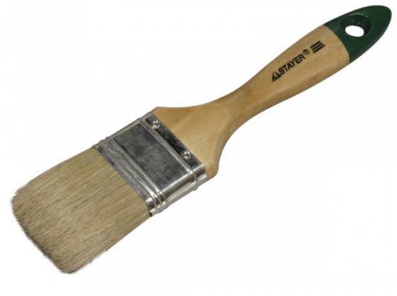 Кисть плоская Stayer Universal-Euro светлая натуральная щетина деревянная ручка 100мм 0102-100