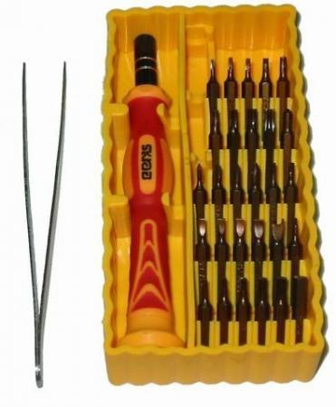Отвертка мини SKRAB 42623 (желтый набор) 30пр.: биты, адаптер, пинцет, для точной механики