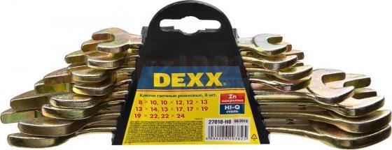 Набор рожковых ключей DEXX 27018-H8 (8 - 24 мм) 8 шт. набор ключей комбинированных dexx 8 предметов