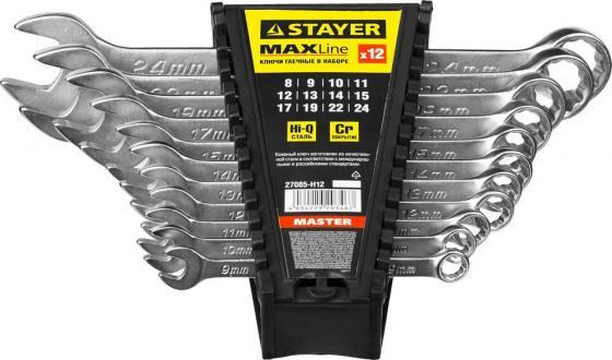Набор комбинированных ключей STAYER 27085-H12 (8 - 24 мм) 12 шт.