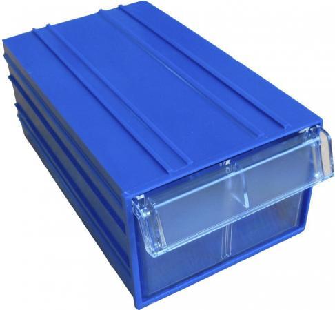 Короб СТЕЛЛА С-2 синий/ прозрачный пластик 140х250х100мм короб стелла fox 103 откидной красный прозрачный 5ячеек