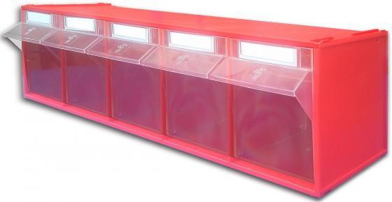 Короб СТЕЛЛА FOX-103 откидной красный/прозрачный 5ячеек короб стелла fox 103 откидной красный прозрачный 5ячеек