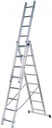 Лестница FIT 65434 трехсекционная алюминиевая 3х9 ступеней универсальная лестница krause monto tribilo 3х9 перекладин 270 605 см 120601