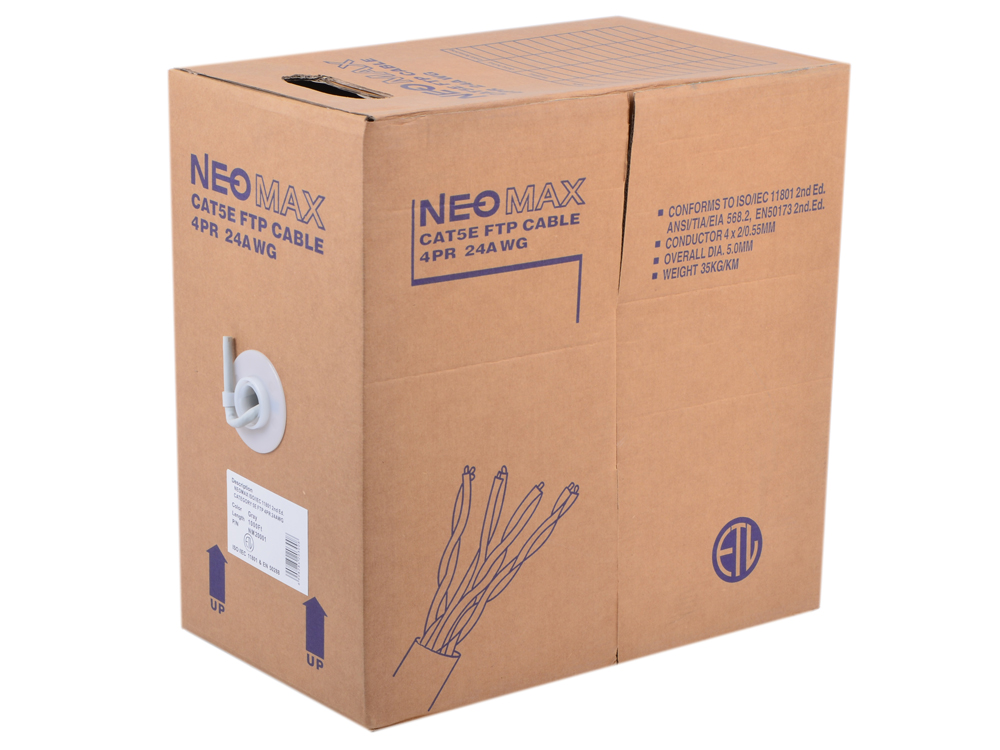 Сетевой кабель бухта 305м FTP 5e Neomax NM20001 Медь, 4 пары(одножильный), 24AWG/0.51мм, 125МГц/100 Ом, PVC, Taiwan 100% genuine hiwin linear guide hgr35 300mm block for taiwan