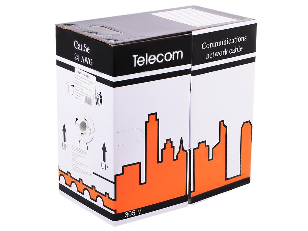 Сетевой кабель бухта 305м UTP 5e Telecom Pro 4 пары, многожильный 24AWG/0.51мм, омедненный кабель vcom cca utp кат 5е 4 пары бухта 305м vnc1100 омедненный