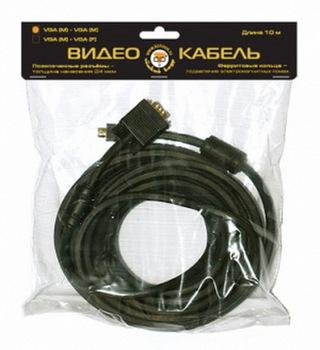 Кабель Konoos VGA 15M/15M 5м, черный, золот.разъемы, тройной экран, феррит.кольца KC-PPVGA-5M