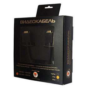 Кабель удлинитель Konoos VGA 15M/15f 1,8м, черный, золот.разъемы, тройной экран, феррит.кольца