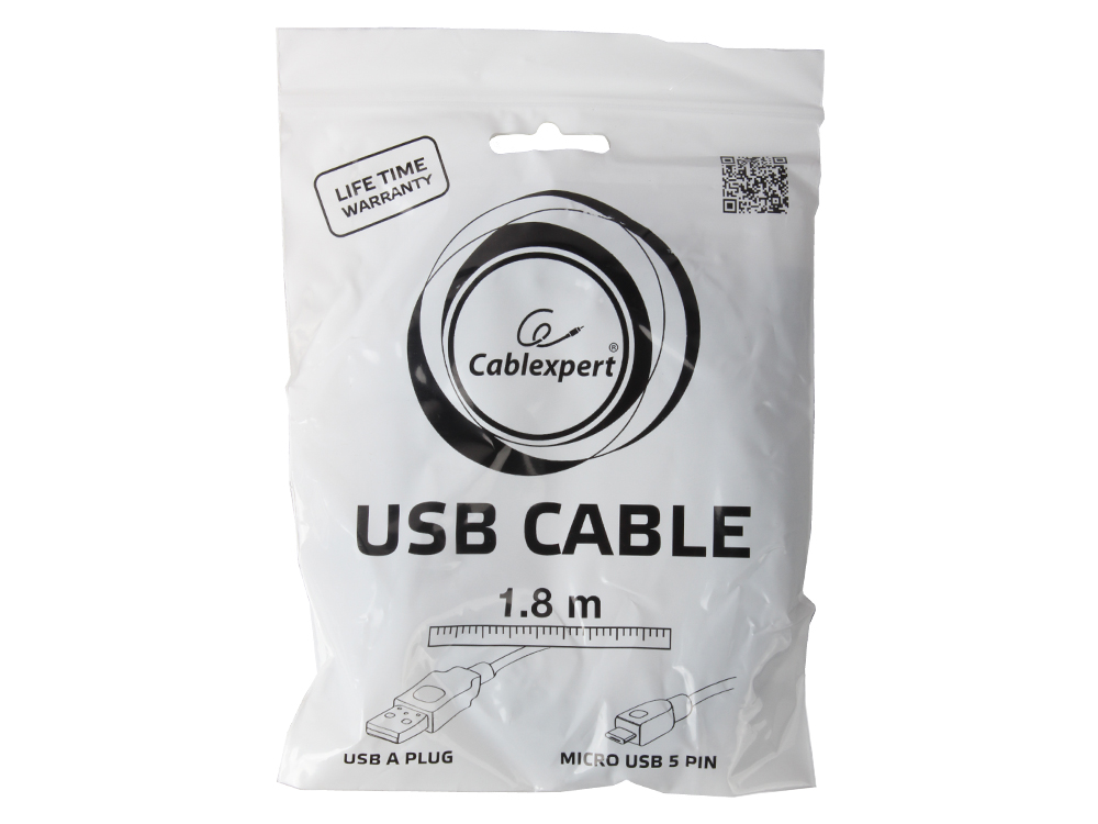 все цены на Кабель USB 2.0 AM/microB 5P (micro USB) 1.8м Pro Gembird, черный, пакет, CCP-mUSB2-AMBM-6