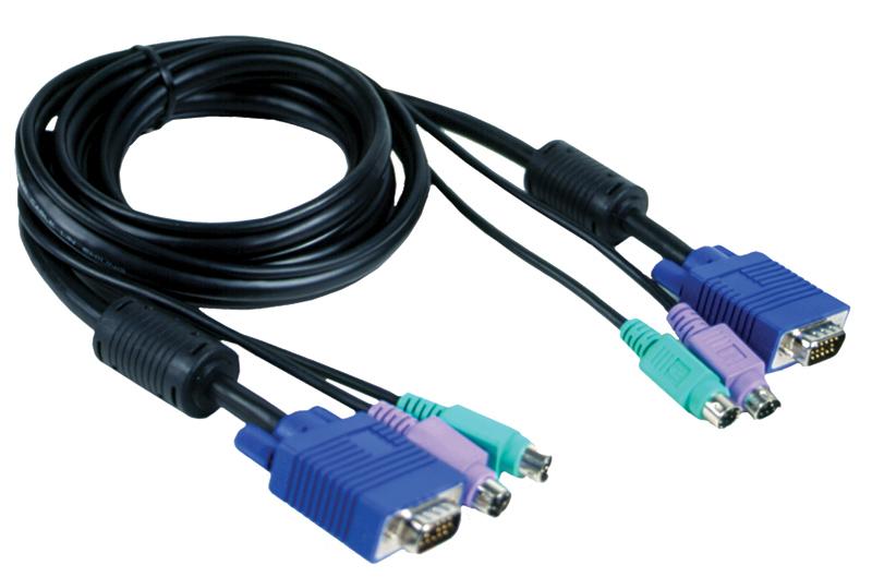 Набор кабелей D-LINK DKVM-CB Набор кабелей для DKVM - 2хPS/2,1xVGA, 1.8м