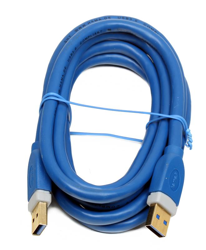 Кабель USB 3.0 A-A (m-m), 1.8 м, позолоченные контакты, экранированный, 5 Гбит/с, ***, синий, Hama H-39676