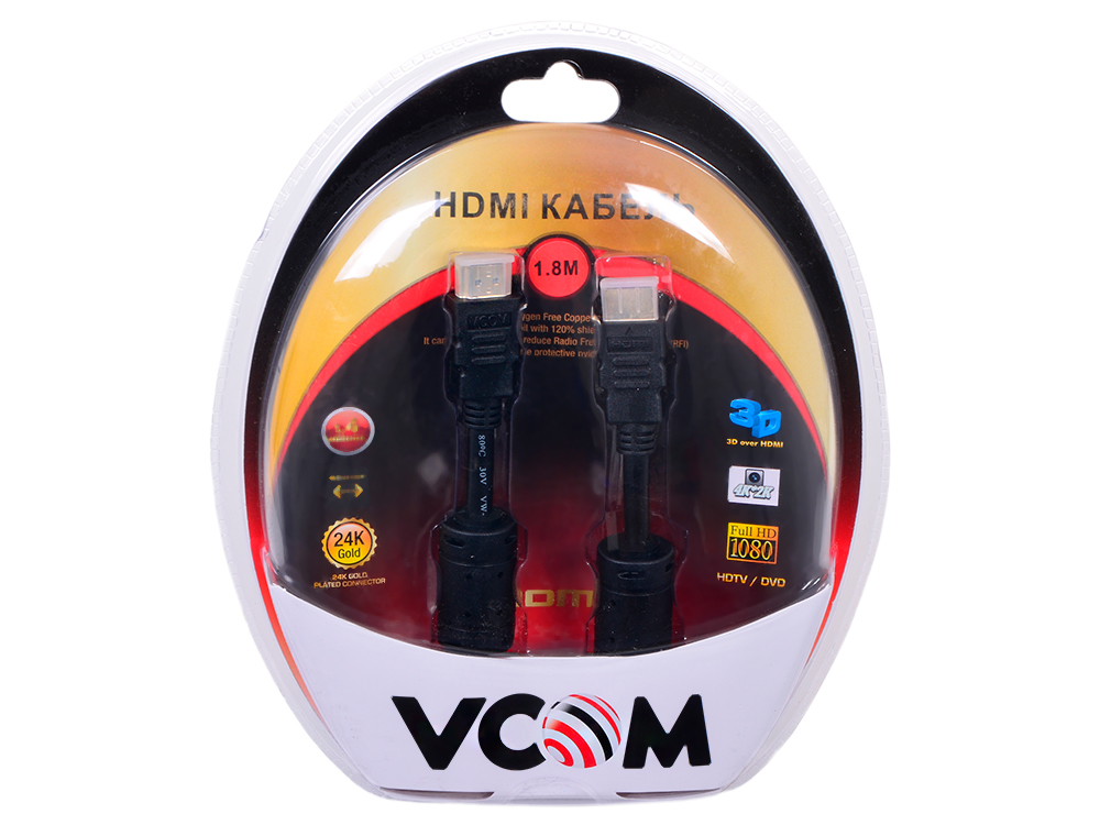 Кабель VCOM HDMI 19M/M ver:1.4-3D, 1,8m, позолоченные контакты, 2 фильтра (VHD6020D-1.8MB) Blister переходник aopen hdmi dvi d позолоченные контакты aca311