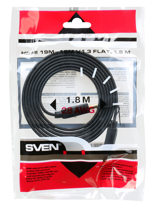 Кабель Sven HDMI 19M-19M V1.3 Плоский, 1.8M кабель hdmi micro hdmi 3 0м sven 19m 19m oo550