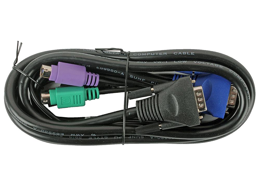 Кабель D-Link KVM-401 Кабель KVM для подключения клавиатуры, мыши и монитора, длина 1,8 м