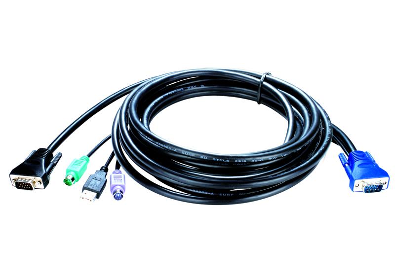 Кабель D-Link KVM-403 Кабель KVM для подключения клавиатуры, мыши и монитора, длина 5.0 м набор кабелей d link kvm 403